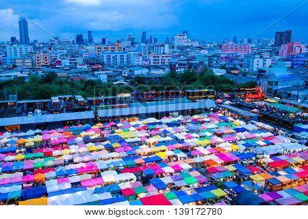 Bangkok, Thailand - 21 May 2016 : Train Night Market Ratchada in Bangkok, Thailand