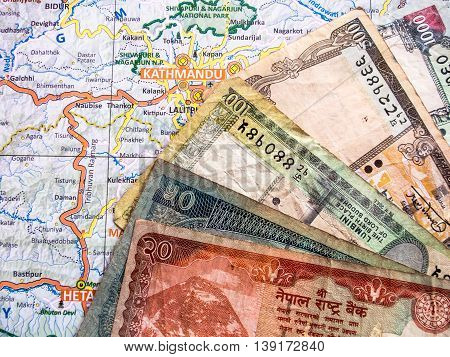 Nepali Rupees On Map