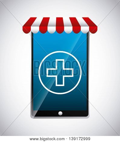 Medical and health care concept represented by cross and smartphone icon. Colorfull and flat illustration.