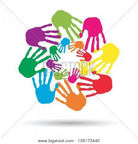 Concept or conceptual circle or spiral set made of colorful painted human hands isolated on white background