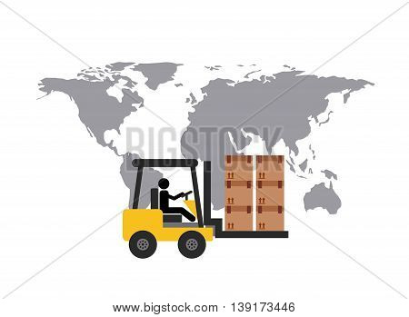 Delivery and Shipping concept represented by map and forklift icon. Colorfull and flat illustration.