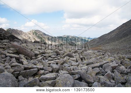 Rila mountain moraines in Bulgaria- stock photo