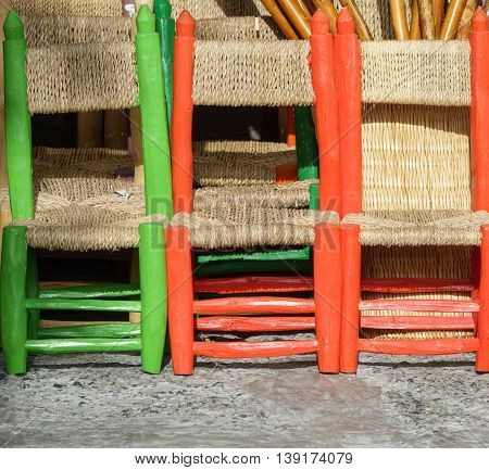 Detailed view of handmade small chairs in la Alpujarra, Capileira, Spain
