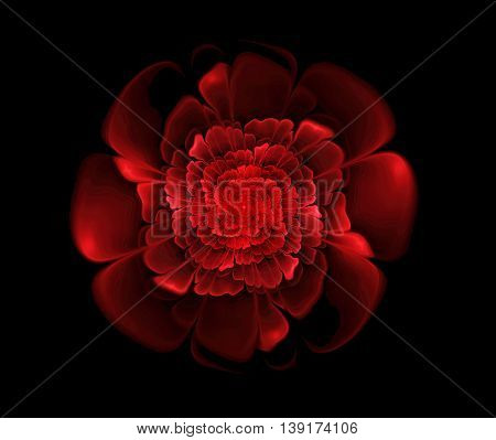 Abstract fractal red flower background computer-generated image