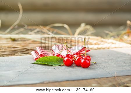 Cherry On Wooden Board With Ribbon Bow