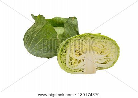 Closeup cabbage and cutted cabbage on wooden isolated white background