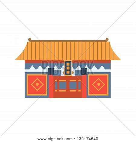 Hung Shing Temple In Hong Kong China Flat Bright Color Primitive Drawn Vector Icon Isolated On White Background
