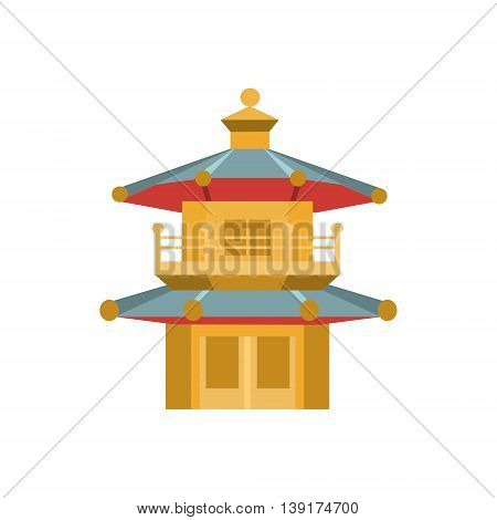 Chinese Architecture Style Tower Flat Bright Color Primitive Drawn Vector Icon Isolated On White Background