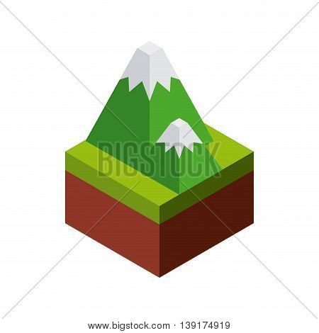 Isometric concept represented by mountain icon. Colorfull and geometric illustration.