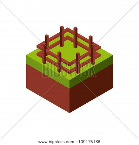 Isometric concept represented by wood fence icon. Colorfull and geometric illustration.
