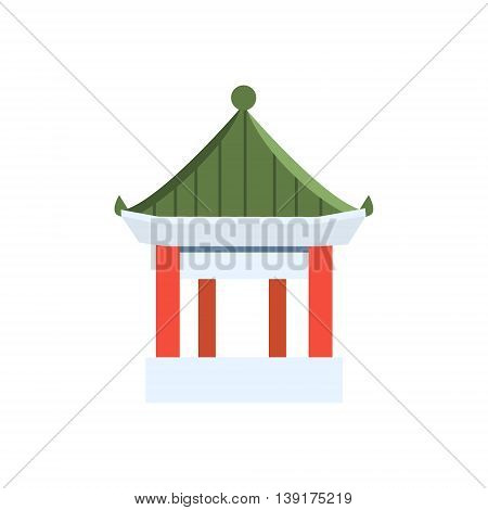 Small Chinese Pagoda Flat Bright Color Primitive Drawn Vector Icon Isolated On White Background