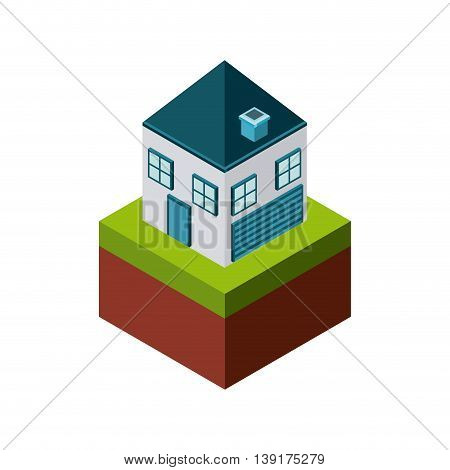 Isometric concept represented by house icon. Colorfull and geometric illustration.