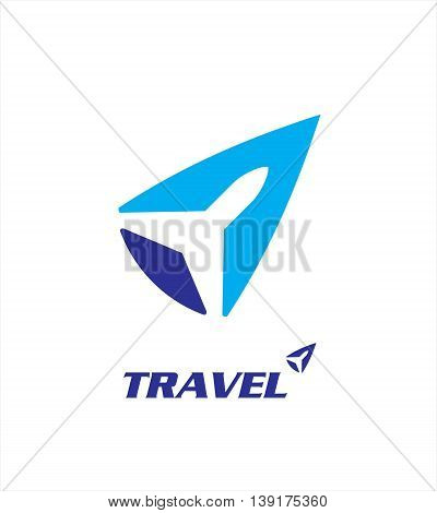 travel logo. Vector template negative space style. unique design of plane icon made by negative space of the blue arrow head or way point.
