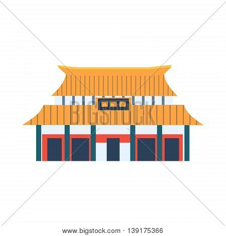 Classic Chinese Style House Flat Bright Color Primitive Drawn Vector Icon Isolated On White Background