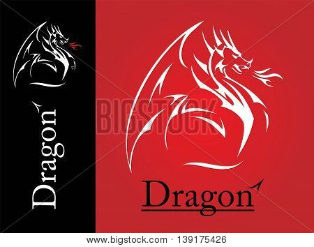White Dragon. Dragon line art spreading its wing. White Dragon with the flame from the mouth. Shooter Dragon. Dragon with Fire. Attacking Dragon. symbolizing power protection dignity wisdom etc.