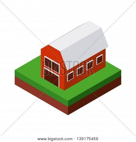Isometric concept represented by farm icon. Colorfull and geometric illustration.