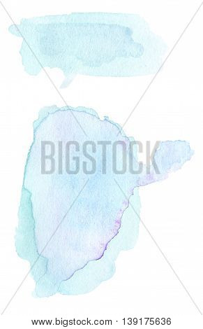 Set of Blue ink spots watercolor tag stain with watercolour paint stroke. Abstract watercolour hand paint texture isolated on white background