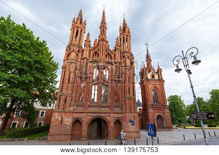 VILNIUS, LITHUANIA - MAY 24th, 2016: Front view of St. Anne's church in Vilnius, Lithuania. It is Roman Catholic church in Vilnius Old Town. UNESCO world heritage site. 15-th century