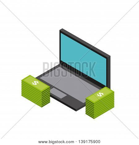 Isometric concept represented by laptop and bills icon. Colorfull and geometric illustration.