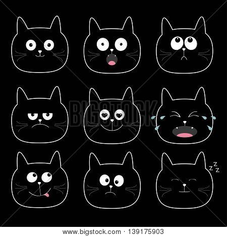Cute black cat head set. Cartoon characters Different emotions faces collection. Expression face icons. Crying happy snoring angry kitten. Cat feelings. Black background Flat Vector illustration