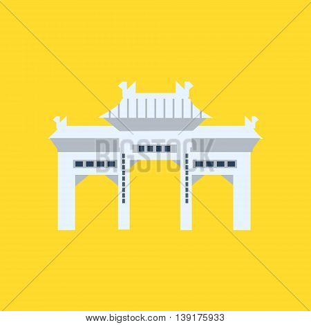 Rsing Shan Monastery Memorial Archway In Hong Kong Flat Bright Color Primitive Drawn Vector Icon Isolated On White Background