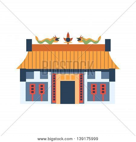 Classic Chinese House With Dragons On The Roof Flat Bright Color Primitive Drawn Vector Icon Isolated On White Background