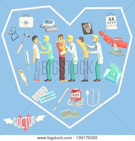 Doctors Examination Patients With Medicine Related Objects In Heart Shaped Frame Cool Colorful Vector Illustration In Stylized Geometric Cartoon Design