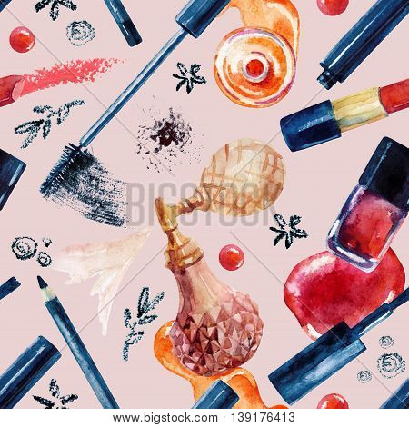 Watercolor beauty seamless pattern. Essential makeup must-haves painting. Beauty product background. Cosmetics on pastel background. Hand painted illustration for fashionable design.