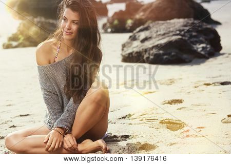 beautiful girl at the beach. summer concept