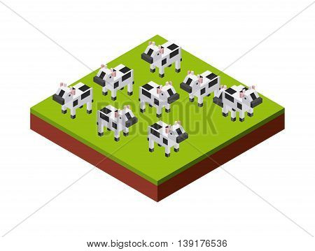 Isometric concept represented by cows icon. Colorfull and geometric illustration.