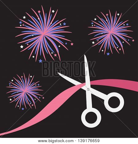 Scissors cut the ribbon. Grand opening celebration. Business beginnings event. Launch startup. Black background with fireworks. Flat design style. Vector illustration.