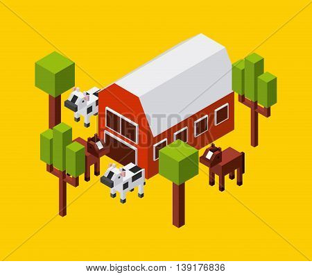 Isometric concept represented by farm cow trees horse icon. Colorfull and geometric illustration.