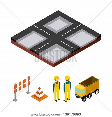 Isometric concept represented by cone barrier constructer truck street icon. Colorfull and geometric illustration.