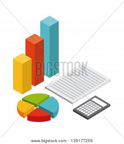 Isometric concept represented by infographics document calculator icon. Colorfull and geometric illustration.