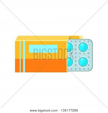 Box With Pills Plaster Flat Bright Color Primitive Drawn Vector Icon Isolated On White Background