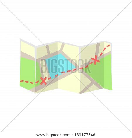 Paper Map With Marked Route Flat Bright Color Primitive Drawn Vector Icon Isolated On White Background