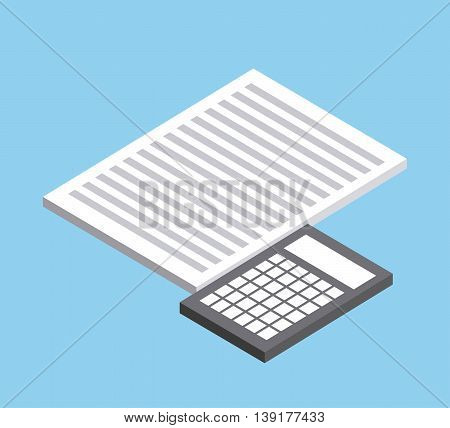Isometric concept represented by document and calculator icon. Colorfull and geometric illustration.
