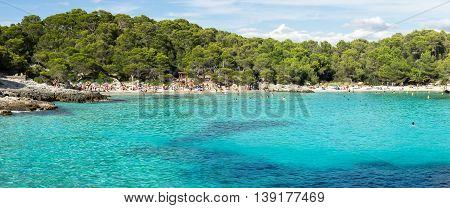 Menorca beach, turquoise water in Mediterranean sea, Balearic islands