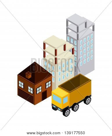 Isometric concept represented by building truck house icon. Colorfull and geometric illustration.