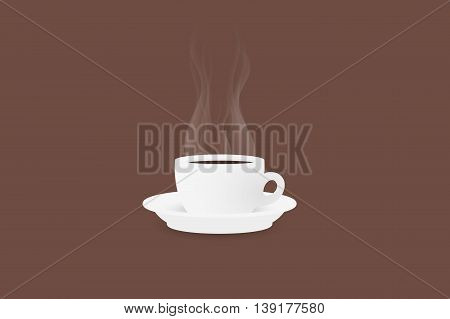 Realistic Cup of steaming coffee. Vector illustration.