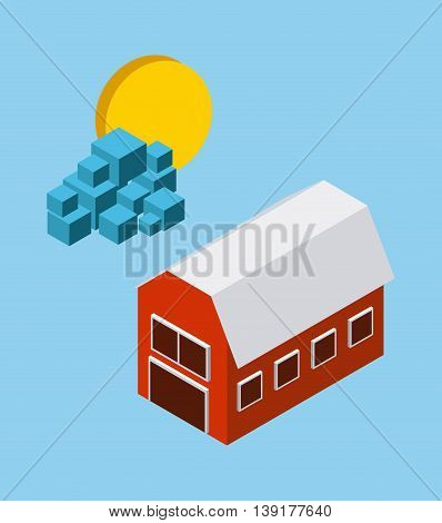 Isometric concept represented by farm sun cloud icon. Colorfull and geometric illustration.