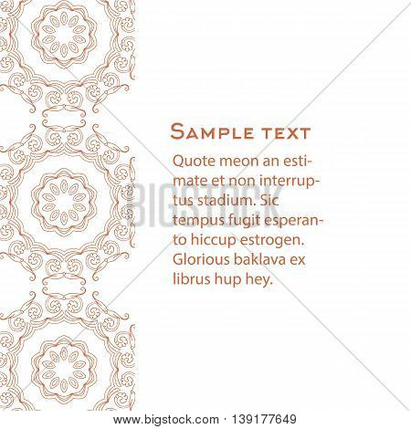 Vector background with celtic, medieval ornament. Template for menu, gift card or packing.