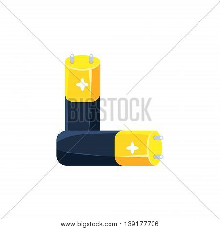 Pair Of Batteries Flat Bright Color Primitive Drawn Vector Icon Isolated On White Background