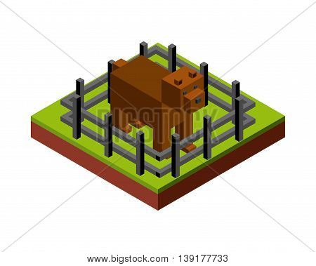 Isometric concept represented by dog and fence icon. Colorfull and geometric illustration.