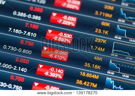 Stock market on digital tablet screen