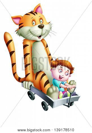 A boy and a cat going in a cart