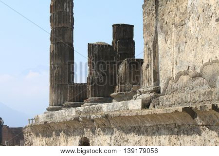 Ruins of Pompeii. Ancient Roman city in Italy died from eruption of Mount Vesuvius.