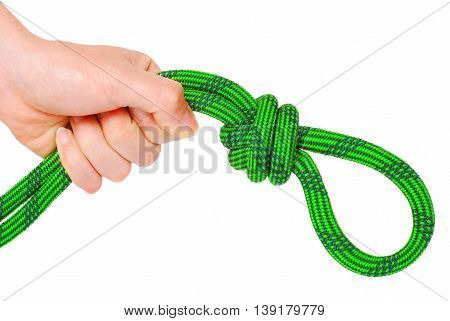 Climbing knot isolated on white background. Climbing sport concept