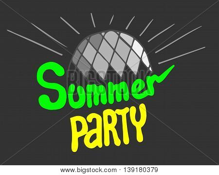 Summer party lettering with bright mirror ball gray color on the dark background