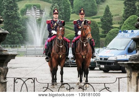 Rome Italy - June 16 2008: Two policemen on horseback department security service at the Villa Borghese public park.